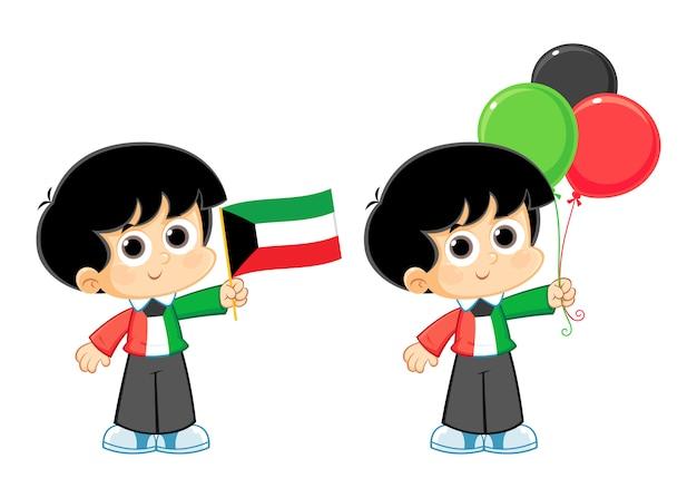 Ilustracja wektorowa celebracja święto narodowe kuwejtu