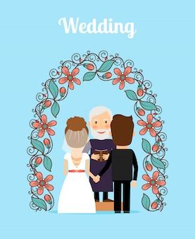Ilustracja wektorowa ceremonii ślubnej