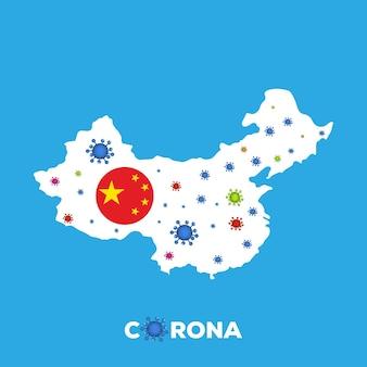 Ilustracja wektorowa chiny mapa z naciskiem na miasto wuhan
