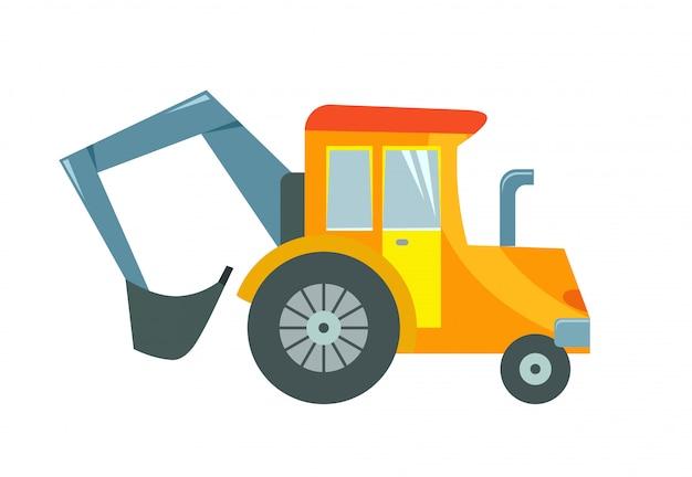 Ilustracja wektorowa ciągnika zabawki na białym tle.