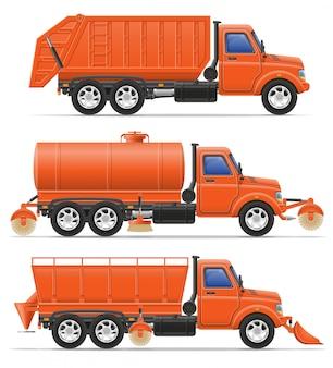 Ilustracja wektorowa ciężarówek miejskich usług sprzątania