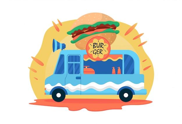 Ilustracja wektorowa ciężarówka fast food