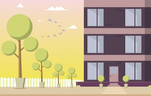 Ilustracja wektorowa courtyard budynek mieszkalny