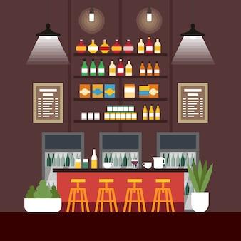 Ilustracja wektorowa coworking cafe interior flat.