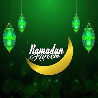 Ilustracja wektorowa creative ramadan kareem celebracja kartka z życzeniami ze złotym księżycem i latarnią