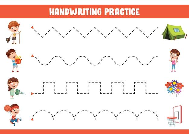 Ilustracja wektorowa ćwiczenia pisma ręcznego