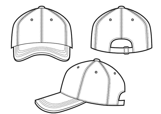 Ilustracja wektorowa czapki z daszkiem z przodu, z tyłu i z boku and