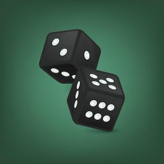 Ilustracja wektorowa czarne realistyczne gry w kości ikony w locie zbliżenie na zielonym tle. szablon projektu hazardu w kasynie dla aplikacji, strony internetowej, infografiki, reklamy, makiety itp.