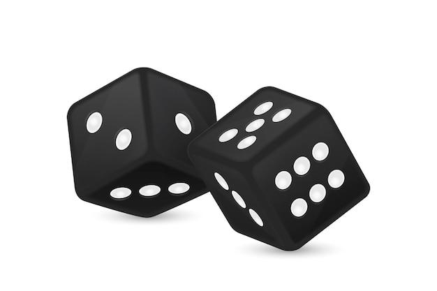 Ilustracja wektorowa czarne realistyczne gry w kości ikony w zbliżenie lotu na białym tle. szablon projektu hazardu w kasynie dla aplikacji, strony internetowej, infografiki, reklamy, makiety itp.