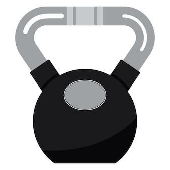 Ilustracja wektorowa czarnego metalu fitness kettlebell z ikoną chromowanego uchwytu.
