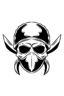 Ilustracja wektorowa czaszki bandytów