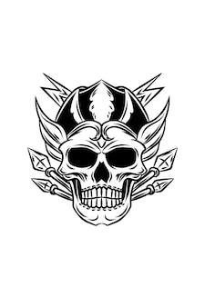 Ilustracja wektorowa czaszki boga piorunów