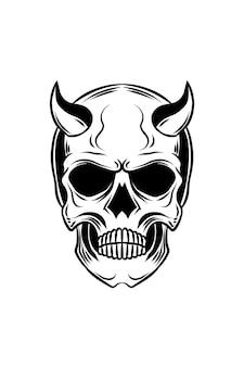Ilustracja wektorowa czaszki demona