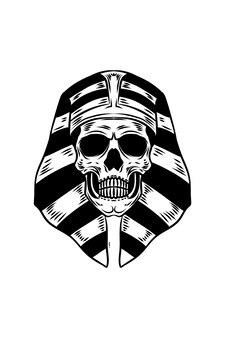 Ilustracja wektorowa czaszki egipskiego władcy