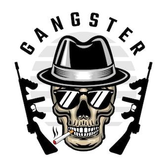 Ilustracja wektorowa czaszki gangstera