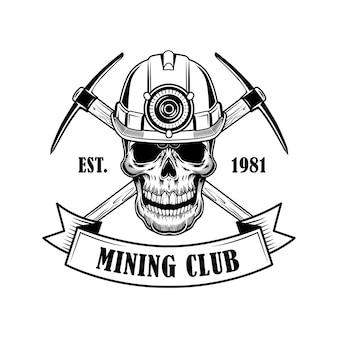 Ilustracja wektorowa czaszki górników. głowa szkieletu w hełmie z pochodnią, skrzyżowane twibills i tekst. koncepcja narzędzi wydobywczych węgla dla szablonów emblematów i odznak