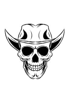 Ilustracja wektorowa czaszki kowboja