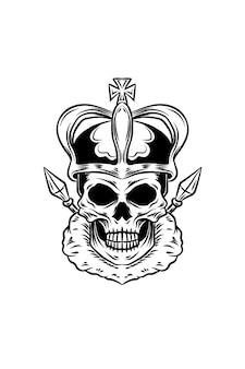 Ilustracja wektorowa czaszki króla