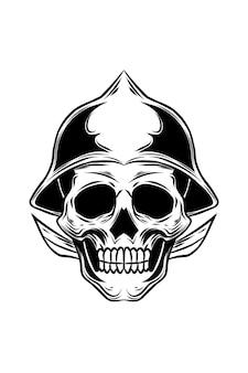 Ilustracja wektorowa czaszki królewskiego wojownika