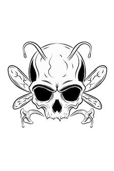 Ilustracja wektorowa czaszki pszczół