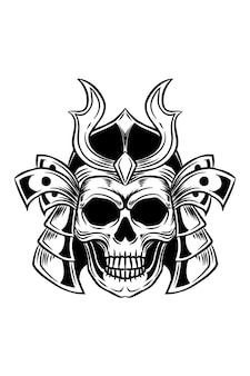 Ilustracja wektorowa czaszki samuraja