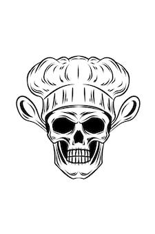 Ilustracja wektorowa czaszki szefa kuchni