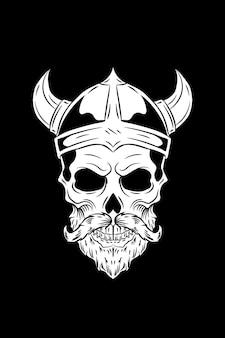 Ilustracja wektorowa czaszki wikinga