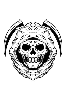 Ilustracja wektorowa czaszki zabójcy życia