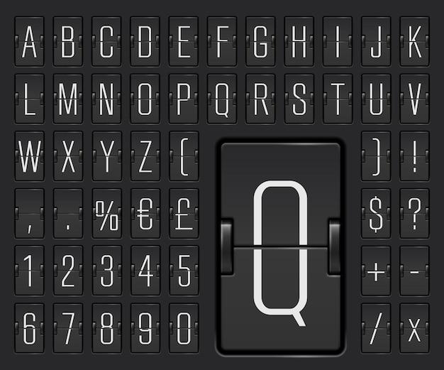 Ilustracja wektorowa czcionki mechanicznej tablicy wyników terminalu lotniska z numerami do wyświetlania informacji o odlocie lub przylocie. czarna tablica z klapką wąski alfabet dla czasu docelowego lub rozkładu jazdy
