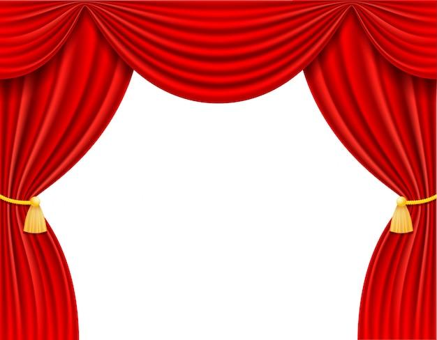 Ilustracja wektorowa czerwona kurtyna teatralna