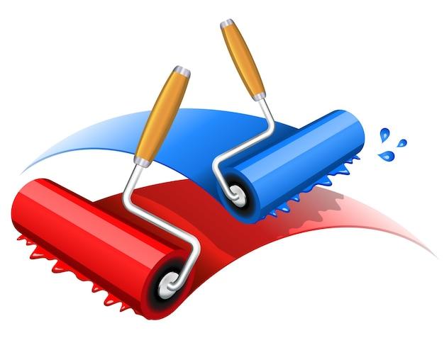Ilustracja wektorowa czerwonego i niebieskiego wałka do malowania