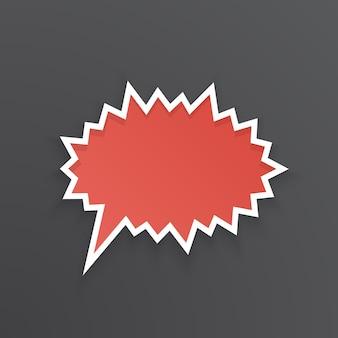 Ilustracja wektorowa czerwony komiks dymek do krzyku w kolczastym kształcie z białym konturem