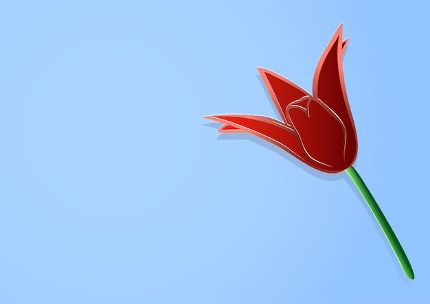 Ilustracja wektorowa, czerwony tulipan kwiat w stylu cięcia papieru na niebieskim tle z przestrzenią