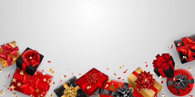Ilustracja wektorowa czerwonych, czarnych i złotych pudełek prezentowych z wstążkami, kokardkami i cieniami oraz małymi błyszczącymi kawałkami serpentyn na białym tle