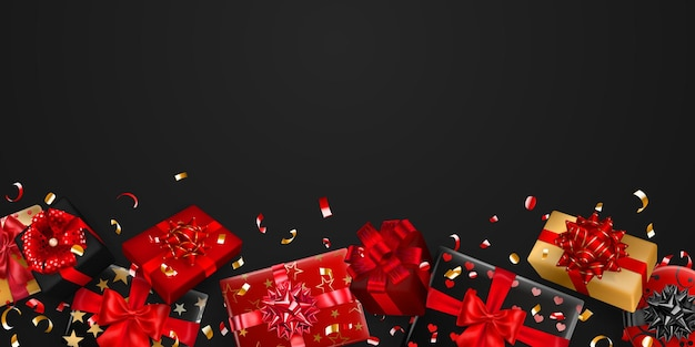 Ilustracja wektorowa czerwonych, czarnych i złotych pudełek prezentowych ze wstążkami, kokardkami i cieniami oraz małymi błyszczącymi kawałkami serpentyny na ciemnym tle