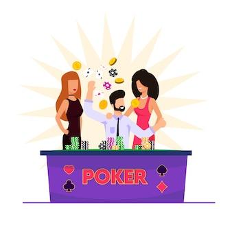 Ilustracja wektorowa człowiek gra w karty w kasynie.