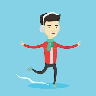Ilustracja wektorowa człowiek na łyżwach.