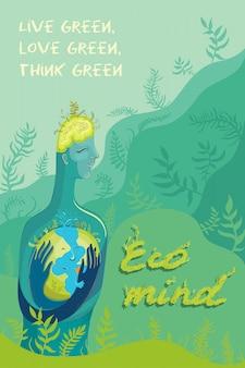 Ilustracja wektorowa człowieka, który kocha i dba o planetę ziemię.