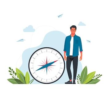 Ilustracja wektorowa człowieka trzyma w dłoniach duży kompas. kartografia orientacja, sprzęt nawigacyjny, wybierz właściwy kierunek, koncepcja turystyki i wędrówki. ilustracja kreskówka wektor