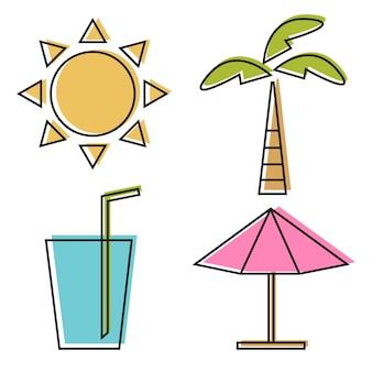 Ilustracja wektorowa czterech ikon linii lato. edytowalny pakiet elementów do kolorowania do projektowania - słońce, parasol, soda, palma