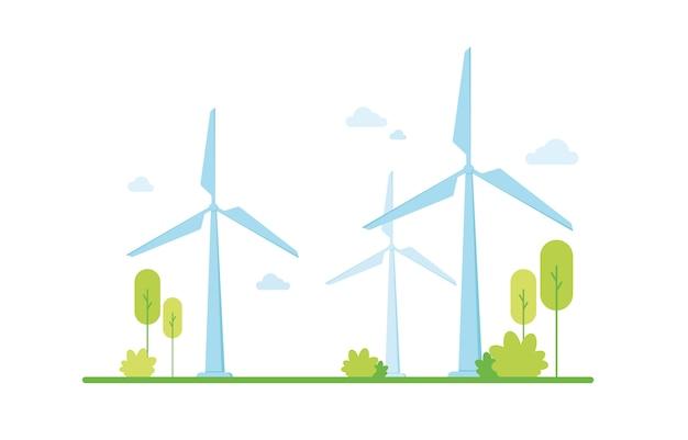 Ilustracja wektorowa czystej energii elektrycznej z wiatru ze źródeł odnawialnych. przyjazny dla środowiska. zielona strefa. ochrona i troska o przyrodę. wsparcie klimatyczne