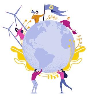 Ilustracja wektorowa czystej energii zielonej planety.