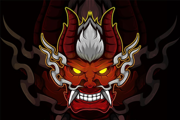 Ilustracja wektorowa demona żółte oczy