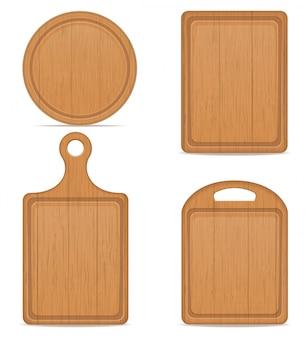 Ilustracja wektorowa deska do krojenia drewniana