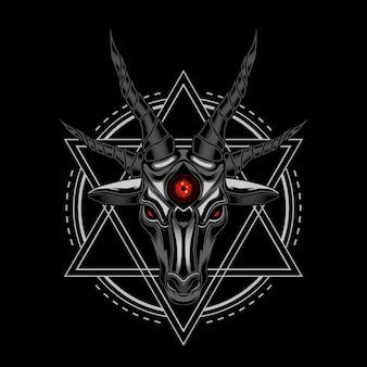 Ilustracja wektorowa diabeł owiec