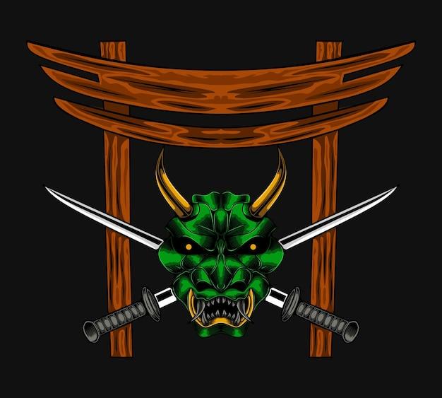 Ilustracja wektorowa diabeł samuraj zła