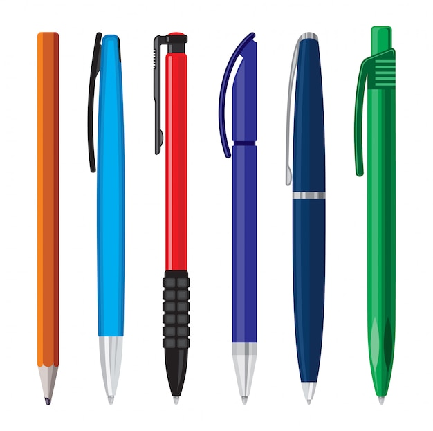 Ilustracja wektorowa długopisy biurowe