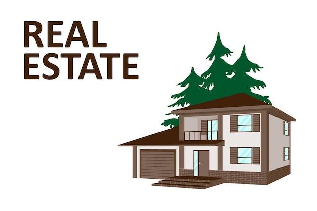 Ilustracja wektorowa domu, domku, penthouse. koncepcja biznesowa nieruchomości z domu na tle drzew. tło dla agencji nieruchomości lub strony internetowej. realistyczny obraz w perspektywie.