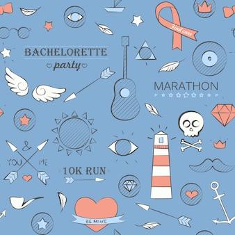 Ilustracja wektorowa doodle hipster wzór. ręcznie rysowane tła na niebiesko.