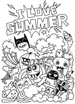 Ilustracja wektorowa doodle słodkie, zabawne lato doodle